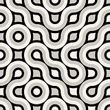 Vector Seamless Black And White Truchet Rounded Pattern