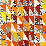 Seamless abstract vector collage of retro triangle quilt patterns in black, white, orange and yellow