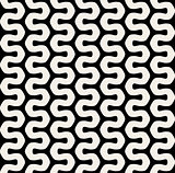 Vector Seamless Black  White Wavy Rounded Lines Pattern