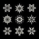 Set of Nine Vector White Semi Transparent Snowflake  Shape Design Elements on Black Background