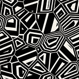 Vector Seamless Black White Abstract Mosaic Distorted Pattern