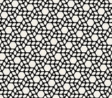 Vector Seamless Black White Rounded Hexagonal Circles Pattern