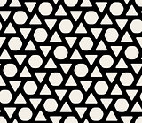 Vector Seamless Black  White Rounded Triangles And Hexagonal Circles Pattern