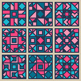 Vector Geometric Square  Pattern Design Element Set in Pink and Blue