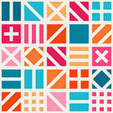 Vector Seamless Geometric Square Irregular Quilt Tiling Pattern in Pink Blue and Orange
