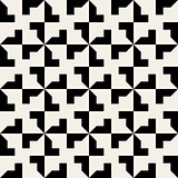 Vector Seamless Black White Geometric Square Tiling Pattern