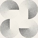 Vector Seamless Black White Half Circles Stippling  Halftone Pattern