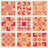 Vector Geometric Square  Pattern Design Element Set in Pink and Orange
