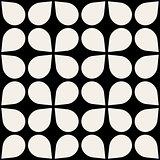 Vector Black  White Seamless Geometric Square Drop Shape Pattern