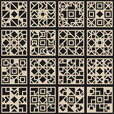 Vector Black  White Seamless Geometric Square Grid Pattern Design Element Set