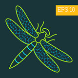 dragonfly insect outline vector