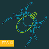 mite insect outline vector