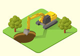excavator vector illustration