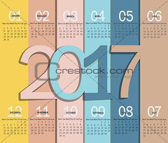 Calendar for 2017, vector.