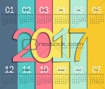 Calendar for 2017.