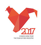 Red fire rooster in origamy style for 2017.