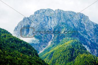 Beautiful landscape. Beautiful peaks in the clouds.