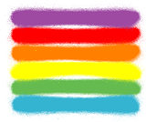 graffiti sprayed lines in six rainbow colors