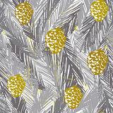 Ink hand drawn christmas tree seamless pattern