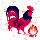 Red fire rooster as symbol of 2017