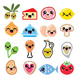 Kawaii cute food characters - meat, vegetables, diary icons set
