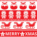 Christmas cute red seamless pattern, greetings card