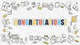 Congratulations Concept with Doodle Design Icons.