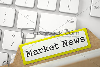 Card File with Market News. 3D.