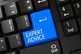 Expert Advice CloseUp of Blue Keyboard Button. 3D.