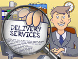 Delivery Services through Magnifying Glass. Doodle Design.