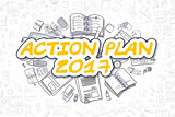 Action Plan 2017 - Cartoon Yellow Text. Business Concept.