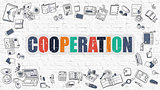 Cooperation Concept with Doodle Design Icons.