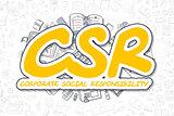 Csr - Cartoon Yellow Inscription. Business Concept.