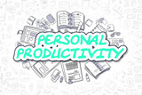 Personal Productivity - Doodle Green Word. Business Concept.