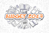 Budget 2017 - Cartoon Orange Word. Business Concept.