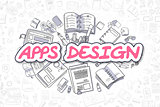 Apps Design - Doodle Magenta Text. Business Concept.