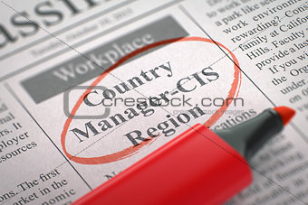 Country Manager-CIS Region Join Our Team. 3D.