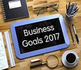 Business Goals 2017 Handwritten on Small Chalkboard. 3D.