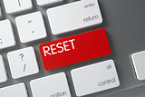 Keyboard with Red Button - Reset. 3D.