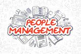 People Management - Cartoon Red Text. Business Concept.