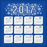 2017 blue calendar with stylized snowflakes