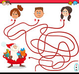 path maze activity with santa