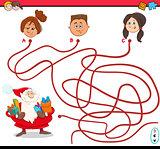 path maze activity with santa