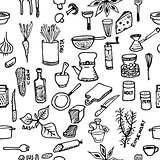 Seamless pattern on a kitchen theme. Variety of products, kitchenware, appliances and condiments.