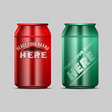 Vector red and green aluminium beverage drink
