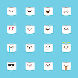 Vector toilet paper emoji set. Funny emoticons.