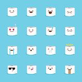Vector toilet paper emoji set. Funny emoticons.