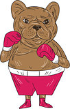 French Bulldog Boxer Boxing Stance Cartoon