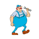 German Repairman Marching Spanner Cartoon