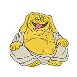 Laughing Bulldog Buddha Sitting Cartoon